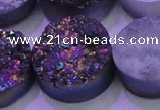CAG8404 7.5 inches 30mm coin rainbow plated druzy agate beads