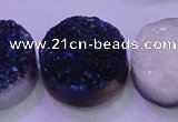 CAG8406 7.5 inches 30mm coin blue plated druzy agate beads