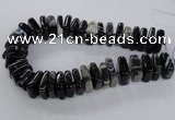 CAG8550 15.5 inches 9*23mm - 10*25mm square black line agate beads