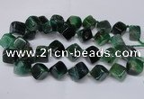 CAG8576 15.5 inches 15*16mm - 17*18mm cube dragon veins agate beads