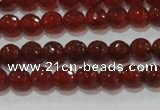 CAG8590 15.5 inches 6mm faceted round red agate gemstone beads