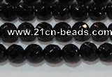 CAG8611 15.5 inches 8mm faceted round black agate gemstone beads