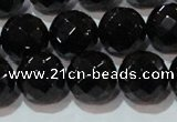 CAG8615 15.5 inches 16mm faceted round black agate gemstone beads