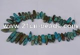 CAG8643 Top drilled 8*20mm - 10*55mm sticks ocean agate beads