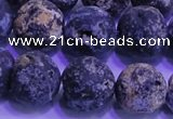CAG8655 15.5 inches 14mm round matte blue ocean agate beads