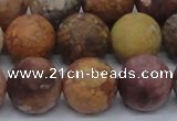 CAG8750 15.5 inches 14mm round matte rainbow agate beads
