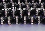 CAG8855 15.5 inches 6mm faceted round agate with rhinestone beads