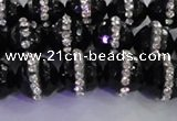 CAG8858 15.5 inches 12mm faceted round agate with rhinestone beads