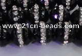 CAG8859 15.5 inches 14mm faceted round agate with rhinestone beads
