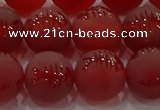 CAG8908 15.5 inches 8mm round matte red agate beads wholesale