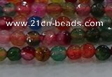 CAG8940 15.5 inches 4mm faceted round fire crackle agate beads