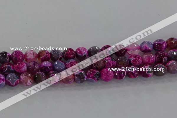 CAG8942 15.5 inches 8mm faceted round fire crackle agate beads