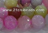 CAG8950 15.5 inches 10mm faceted round fire crackle agate beads