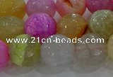 CAG8951 15.5 inches 12mm faceted round fire crackle agate beads