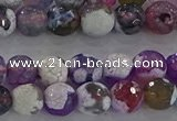 CAG8955 15.5 inches 6mm faceted round fire crackle agate beads