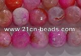 CAG8963 15.5 inches 6mm faceted round fire crackle agate beads