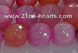 CAG8967 15.5 inches 14mm faceted round fire crackle agate beads