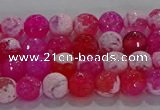 CAG8970 15.5 inches 4mm faceted round fire crackle agate beads