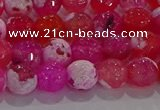 CAG8971 15.5 inches 6mm faceted round fire crackle agate beads