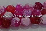 CAG8972 15.5 inches 8mm faceted round fire crackle agate beads