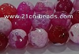 CAG8974 15.5 inches 12mm faceted round fire crackle agate beads