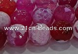CAG8975 15.5 inches 14mm faceted round fire crackle agate beads