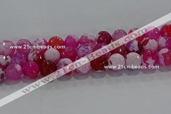CAG8976 15.5 inches 16mm faceted round fire crackle agate beads