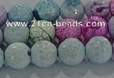 CAG8980 15.5 inches 8mm faceted round fire crackle agate beads