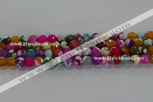 CAG8988 15.5 inches 8mm faceted round fire crackle agate beads