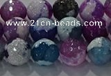 CAG8989 15.5 inches 10mm faceted round fire crackle agate beads