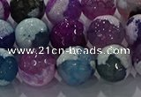 CAG8990 15.5 inches 12mm faceted round fire crackle agate beads