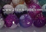 CAG8992 15.5 inches 16mm faceted round fire crackle agate beads
