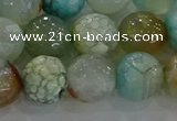 CAG8996 15.5 inches 10mm faceted round fire crackle agate beads