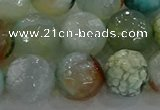 CAG8998 15.5 inches 14mm faceted round fire crackle agate beads