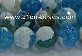 CAG9002 15.5 inches 10mm faceted round fire crackle agate beads