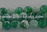 CAG9007 15.5 inches 6mm faceted round fire crackle agate beads