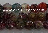CAG9021 15.5 inches 6mm faceted round fire crackle agate beads