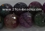 CAG9026 15.5 inches 16mm faceted round fire crackle agate beads