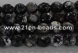 CAG9028 15.5 inches 4mm faceted round fire crackle agate beads
