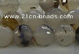 CAG9037 15.5 inches 10mm faceted round dragon veins agate beads