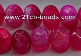 CAG9044 15.5 inches 12*16mm faceted oval line agate beads