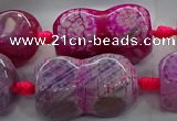 CAG9069 15.5 inches 16*30mm peanut-shaped fire crackle agate beads