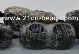 CAG9072 15.5 inches 16*40mm peanut-shaped fire crackle agate beads