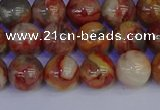 CAG9102 15.5 inches 8mm round red crazy lace agate beads