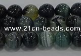 CAG9186 15.5 inches 8mm round line agate beads wholesale