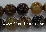 CAG9205 15.5 inches 12mm round line agate gemstone beads