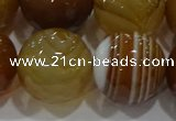 CAG9218 15.5 inches 18mm faceted round line agate gemstone beads
