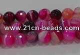 CAG9239 15.5 inches 4mm faceted round line agate beads wholesale