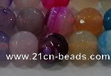 CAG9259 15.5 inches 12mm faceted round line agate beads wholesale