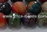 CAG9267 15.5 inches 14mm faceted round line agate beads wholesale